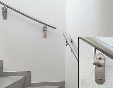Handlaufhalter zur Montage an der Wand aus Gipskarton oder an Wärmedämmfassaden