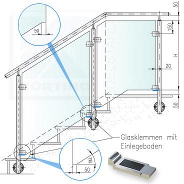 Glasklemmhalter - Anordnung der Einlegeböden