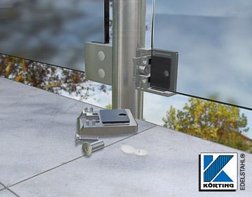 Glasklemmhalter - die Montageausrichtung richtet sich nach der Absturzseite - beim Balkongeländer befindet sich der Deckel also innen