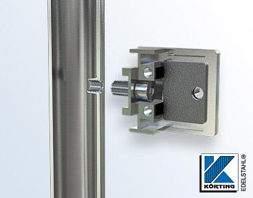 Glasklemmenmontage an Edelstahlrohr 42,4 mm mit einer Zylinderkopfschraube M8x20 mm - Schnitt durch Fließformgewinde M8