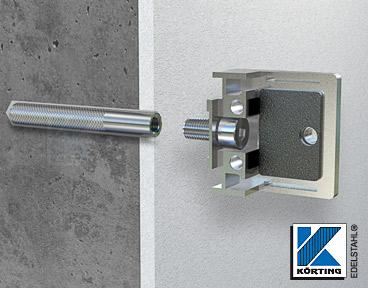 Glasklemmenmontage an einer Wand aus Beton mit einer Zylinderkopfschraube M8x20 in einem verklebtem Gewindeanker M8x80 mm
