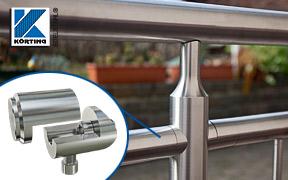 Montagebeispiel einer Rohrverschraubung - verschweißt mit einem Edelstahlrohr 33,7 mm als Querrohr einer Geländerfüllung mit senkrechten Stäben