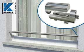 Montagebeispiel einer Rohrverschraubung - verschweißt mit einem Edelstahlrohr 42,4 mm als Absturzsicherung in einer Fensterlaibung