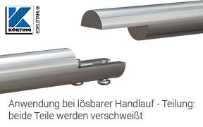 Montagebeispiel einer Rohrverschraubung - verschweißt mit an beiden Enden an Edelstahlrohr 42,4 mm zur Herstellung einer stabilen und lösbaren Handlaufteilung