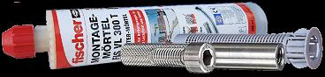Zylinderkopfschraube M8x20 mm, Innengewindeanker Ø12 x 80 mm, Fischer Montagemörtel FIS VL 300 T, Fischer Ankerhülse FIS H 16x85 K