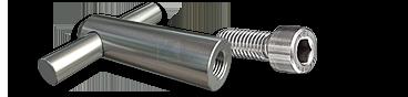 Zylinderkopfschraube M8x20 mm, Gewindeanker Ø14 x 50 mm mit Querbolzen für Holz