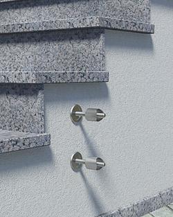 Geländerpfosten Montage seitlich mit Pfostenhaltern und Distanzstücken - Montageschritt 02