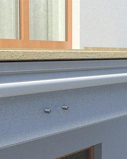 Geländerpfosten Montage seitlich mit eckiger Wangenplatte und verstellbarem Stegblech - Montageschritt 01