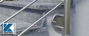 Geländerbefestigungen aus Edelstahl - zur seitliche Montage von Pfosten aus Edelstahl für Treppengeländer