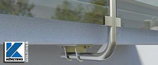 Geländerbefestigungen aus Edelstahl - zur unterseitigen Montage von Pfosten aus Edelstahl für Balkongeländer
