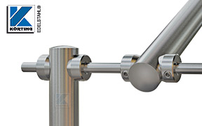 Klemmstücke aus Edelstahl - Montagebeispiel: mit Klemmstücken lassen sich individuell und schnell Gestelle aus Edelstahlrohr 33,7 mm und Rundmaterial 12 mm bauen
