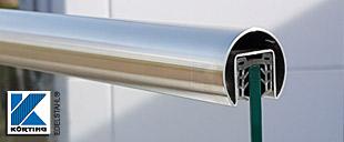 Nutrohr aus Edelstahl - Handlauf für Glasbrüstungen mit passendem Gummiprofil für Verbundsicherheitsglas