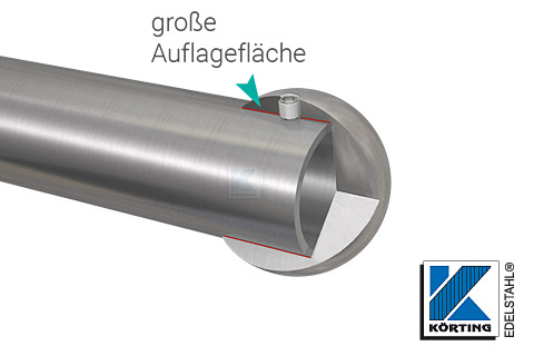 Rohrabschlusskugel massiv - große Auflagefläche, wird mit Gewindestift gesichert