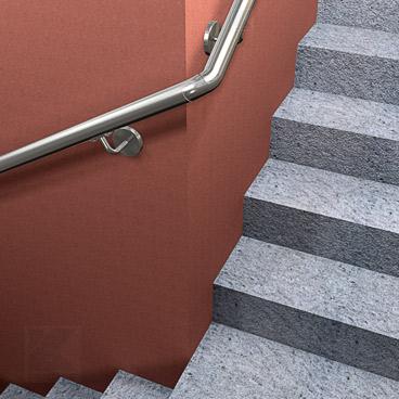 Rohrbogen 90° verdrehbar - Montagebeispiel: Handlauf in Wandmontage an einer Treppe mit Viertelpodest um einen Fahrstuhlschacht herum