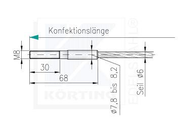 Drahtseil - Konfektionierung - freie Längeneingabe- Seilende mit Aussengewinde M8 x 30 mm - linke Seite