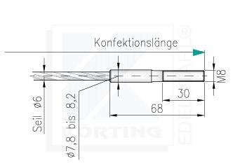 Drahtseil - Konfektionierung - freie Längeneingabe- Seilende mit Außengewinde M8 x 30 mm - rechte Seite