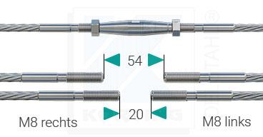 Edelstahlseil Teilung - Ausführung mit Seilspannern