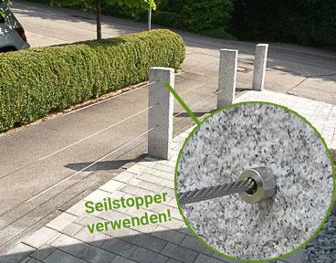 Kundenprojekt: Seilabsperrung an Granitsäulen, Montage von Seilstoppern zur Lastabtragung