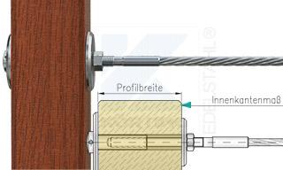 Edelstahlseil Spannsystem: Holzbalken mit Gewindeterminal M8x30mm - Typ H03 - mit Hülsenmutter