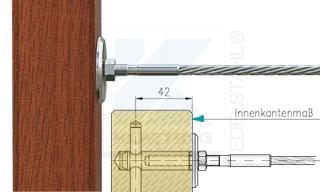 Edelstahlseil Spannsystem: Holzbalken mit Gewindeterminal M8x30mm - Typ H01 - Verschraubung in Holz-Gewindeanker M8