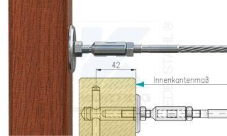 Edelstahlseil Spannsystem: Holzbalken mit Gewindeterminal M8x30mm - Typ H02 - mit Seilspanner