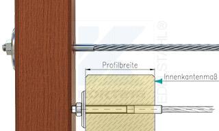 Edelstahlseil Spannsystem: Holzbalken mit Gewindeterminal M8x30mm - Typ H05 - Durchgangsbohrung