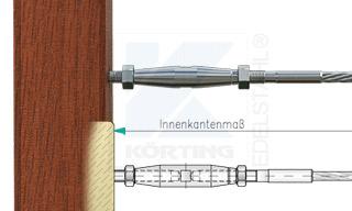 Edelstahlseil Spannsystem: Holzbalken mit Gewindeterminal M8x30mm - Typ H04 - mit Seilspanner