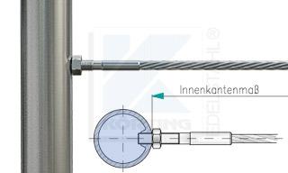 Edelstahlseil Spannsystem: Rundrohr 42,4 mm mit Gewindeterminal M8x30mm - Typ R01 - Verschraubung in Fließformgewinde M8