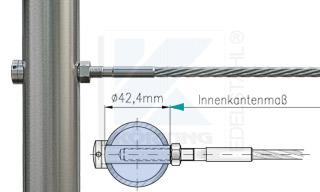 Edelstahlseil Spannsystem: Rundrohr 42,4 mm mit Gewindeterminal M8x30mm - Typ R03 - mit Hülsenmutter
