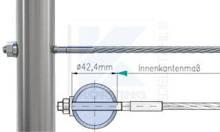 Edelstahlseil Spannsystem: Rundrohr 42,4 mm mit Gewindeterminal M8x60mm - Typ R05b - Durchgangsbohrung und Radienscheibe