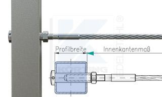 Edelstahlseil Spannsystem: Vierkantrohr mit Gewindeterminal M8x30mm - Typ V03 - mit Hülsenmutter