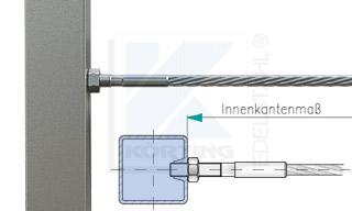 Edelstahlseil Spannsystem: Vierkantrohr mit Gewindeterminal M8x30mm - Typ V01 - Verschraubung in Fließformgewinde M8
