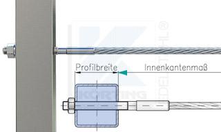 Edelstahlseil Spannsystem: Vierkantrohr mit Gewindeterminal M8x30mm - Typ V05 - Durchgangsbohrung