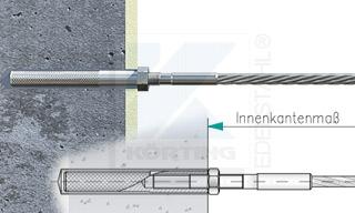 Edelstahlseil Spannsystem: Hauswand oder Granitsäule mit Gewindeterminal M8x30mm - Typ W01 - Verschraubung in Innengewindeanker M8