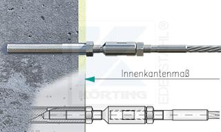 Edelstahlseil Spannsystem: Hauswand oder Granitsäule mit Gewindeterminal M8x30mm - Typ W02 - mit Seilspanner mit Seilspanner mit Außengewinde M8 Rechts und Innengewinde M8 Links