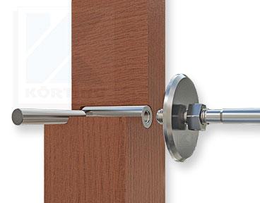 Montageschnitt: Edelstahl Holz-Gewindeanker mit Innengewinde M8x30 mm rechts