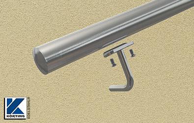 die Anschraubplatte wird am gebogenen Handlaufträger verschraubt