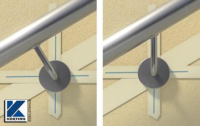 Unterschiede in der Befestigungslinie durch verschiedene Montagearten der Handlaufhalter