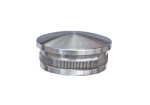 Rohrstopfen mit Rändelung, gewölbt, für Edelstahlrohr 42,4x2,0 mm, Guss - Werkstoff 14305, Oberfläche fein gedreht - Produktansicht