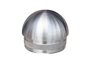 Rohrstopfen mit Rändelung,  halbrund, für Edelstahlrohr 42,4x2,0 mm, Guss Werkstoff 1.4301, Oberfläche fein gedreht - Produktansicht