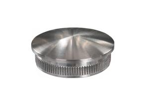 Rohrstopfen mit Rändelung,  gewölbt, für Edelstahlrohr 48,3x3,6 mm, Werkstoff 1.4301, Oberfläche fein gedreht