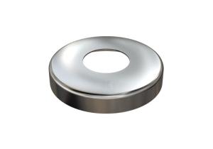 Edelstahl Abdeckrosette 105x20 mm mit Loch 42,6 mm für Edelstahlronden mit Versteifungsrippen bei Verwendung flacher Sechkantmuttern