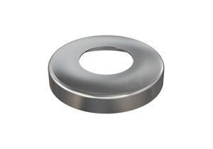 Edelstahl Abdeckrosette 105x20 mm mit Loch 49 mm für Edelstahlronden mit Versteifungsrippen bei Verwendung flacher Sechkantmuttern