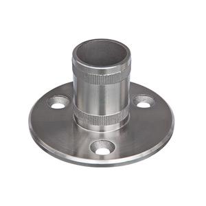 Edelstahlronde mit Rohrhülse 2 mal gerändelt zum Aufstecken und Verkleben von Rohr 42,4x2,0 mm - Produktansicht
