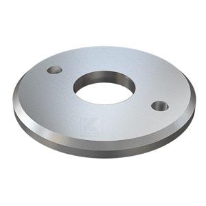 Edelstahl Ronde 125x10 mm mit 45° - Fase, zum rückseitigen Verschweißen von Rohr 42,4 mm mit 3 Langlöchern zur einfachen Montage mit Gewindestangen M10