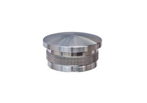 Endkappe leicht gewölbt aus Hohlguss mit Rändelung zum Einschlagen in Edelstahlrohr 33,7x2,0 mm