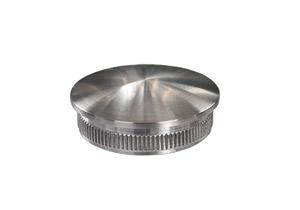 Endkappe aus Edelstahl massiv, gewölbt, mit Rändelung zum Einschlagen in Edelstahlrohr 40,0x2,0 mm