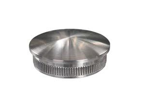 Endkappe aus Edelstahl massiv, gewölbt, mit Rändelung zum Einschlagen in Edelstahlrohr 48,3x3,6 mm