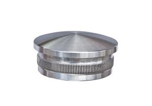 Endkappe leicht gewölbt aus Hohlguss mit Rändelung zum Einschlagen in Edelstahlrohr 48,3x2,0 mm