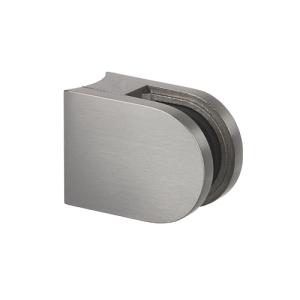 Glasklemmhalter aus Edelstahl, halbrund 40x50x28 mm Rundrohr-Anschluss - Produktansicht